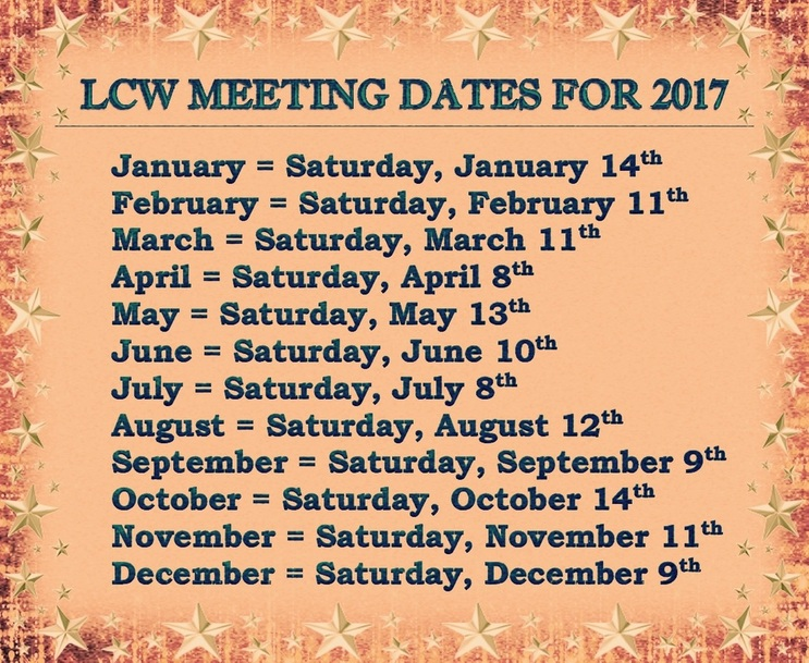 Every Second Saturday Meeting Date for 2017--Download & Save as a Reminder